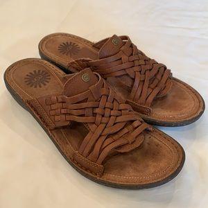 Ugg Keala woven vamp slip on brown leather sandal